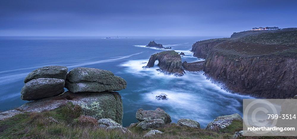 Dramatic coastal scenery at Land's End in Cornwall, England, United Kingdom, Europe