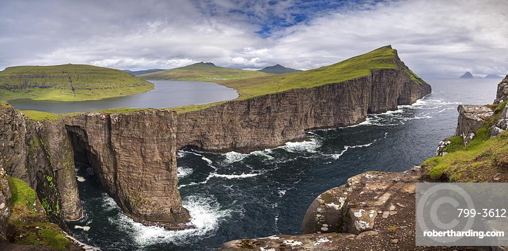The dramatic Vagar coastline from Traelana?pa cliff above Sorvagsvatn Lake in the Faroe Islands, Denmark, Europe