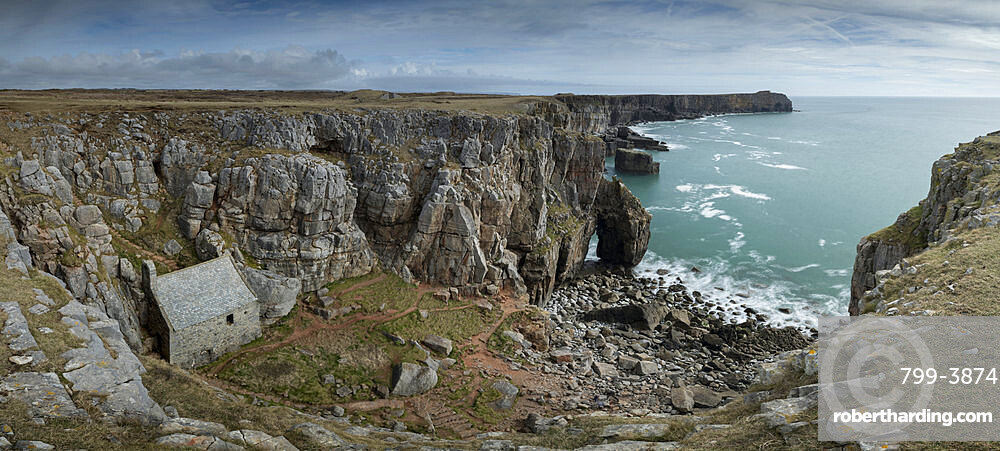 St. Govan's Chapel, nestled in the rugged cliffs of Pembrokeshire, Wales, United Kingdom, Europe