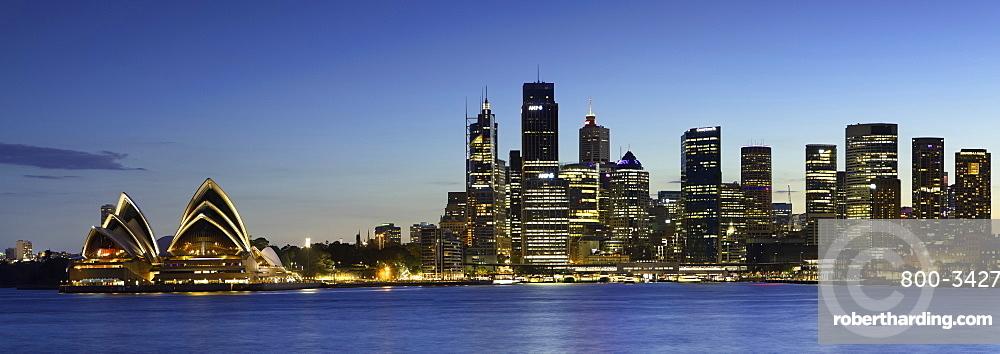 Sydney Opera House and skyline at dusk, Sydney, New South Wales, Australia, Pacific