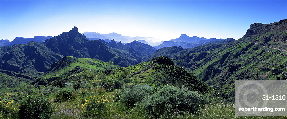 View west from Route GC210, with Roque Bentayga on the left, Gran Canaria, Canary Islands, Spain, Atlantic Ocean, Europe