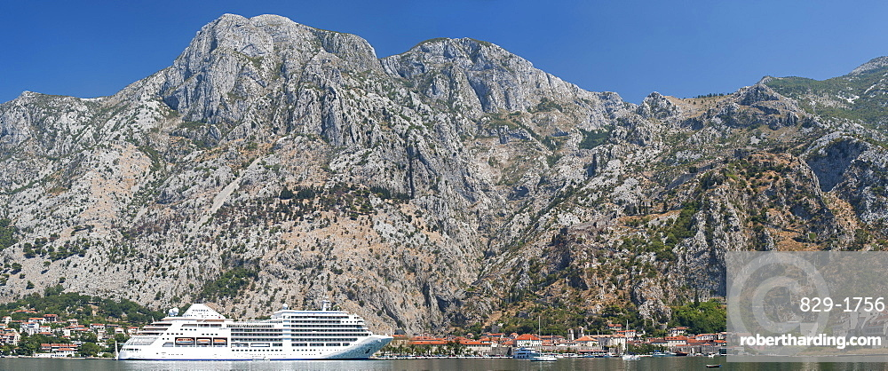 Panoramic view of a cruise ship at the port of Kotor in Kotor Bay, UNESCO World Heritage Site, Montenegro, Europe
