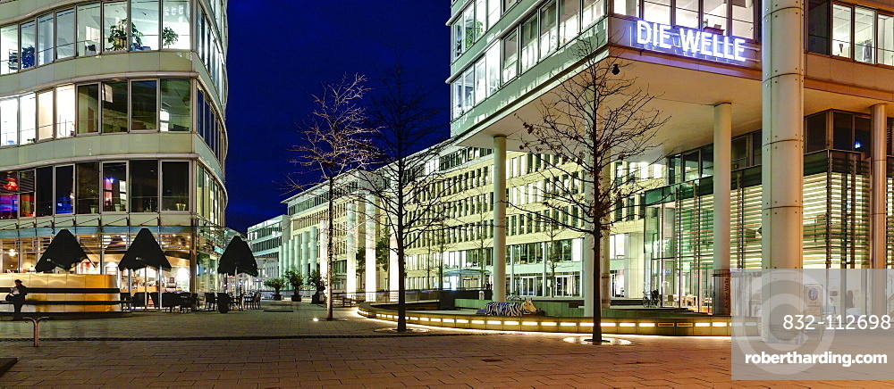 The Frankfurter Welle, a wave-shaped modern office building, designed by the architects JSK, Westend-Sued, Frankfurt am Main, Hesse, Germany, Europe