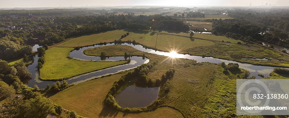 Aerial view, floodplains of the Lippe river, meandering Lippe river, river bends, renaturation, Life-Project of the state government of NRW, Hamm, Ruhrgebiet area, North Rhine-Westfalia, Germany, Europe