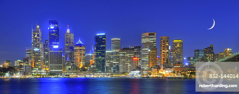 Panorama shot of Sydney Harbour skyline, Central Business District, moon, night shot, Sydney, New South Wales, Australia