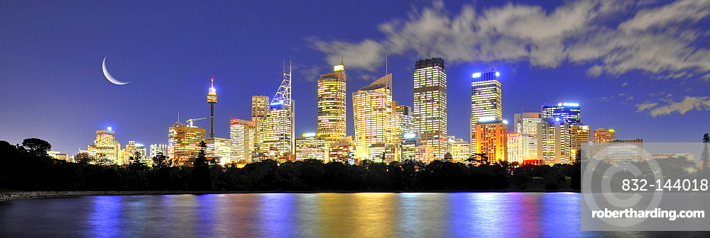 Panorama shot of Sydney skyline, moon, TV Tower, Central Business District, night, Sydney, New South Wales, Australia