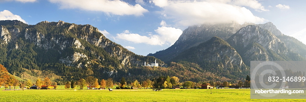 Neuschwanstein Castle in front of the Alpine scenery with Saeuling Mountain and Tegelberg Mountain, Ostallgaeu, Bavaria, Germany, Europe