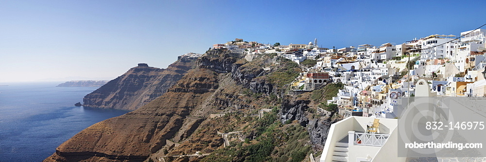 Fira on the cliff line of Santorini, Cyclades, Greece, Europe