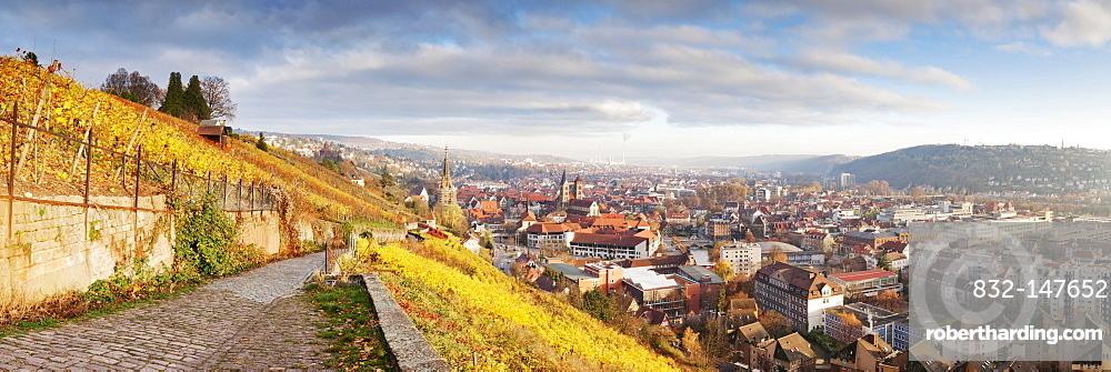 View from a ridge walk towards Esslingen in autumn, Esslingen am Neckar, Baden-Wuerttemberg, Germany, Europe