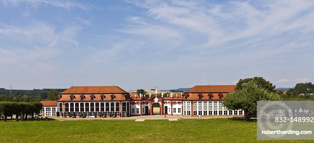 Orangery, Schloss Seehof castle and gardens, Memmelsdorf, Upper Franconia, Bavaria, Germany, Europe