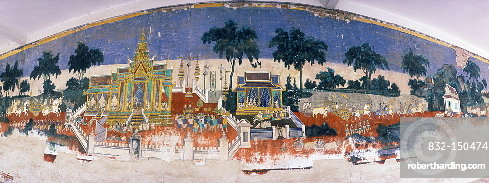 Ramayana murals in the Royal Palace, Phnom Penh, Cambodia, Indochina, Southeast Asia, Asia