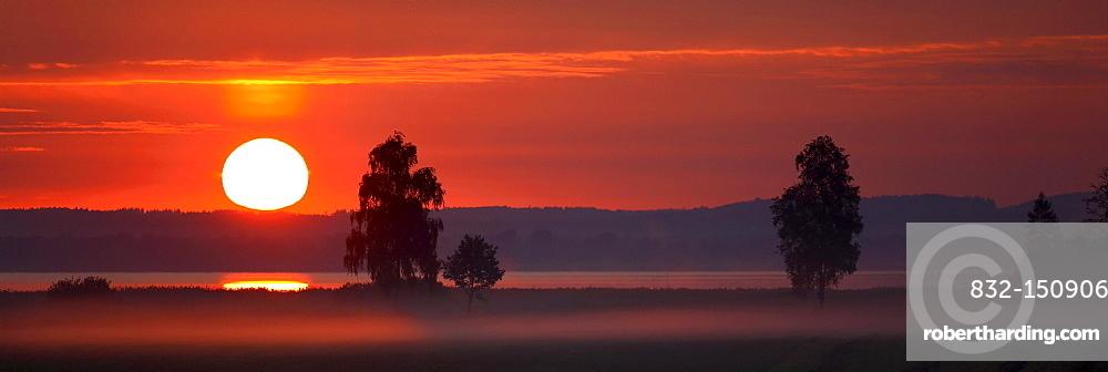 Sunrise on Chiemsee farmland, Chiemgau, Upper Bavaria, Germany, Europe