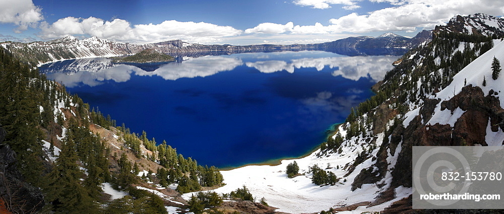 Reflections on Crater Lake, Crater Lake National Park, Oregon, USA