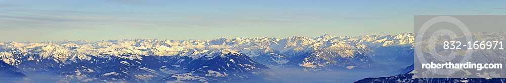 Panoramic view from Mt Saentis of the Austrian and Swiss Alps, Canton of Appenzell Innerrhoden, Switzerland, Europe