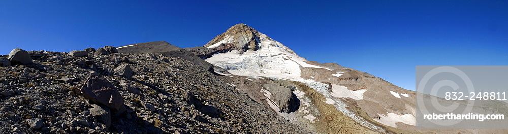 Panorama, Eastern edge of Mount Hood volcano, Cooper Spur Trail, Cascade Range, Oregon, USA