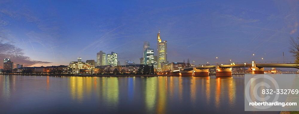 Frankfurt skyline featuring the Commerzbank and Main Bridge, Frankfurt, Hesse, Germany, Europe