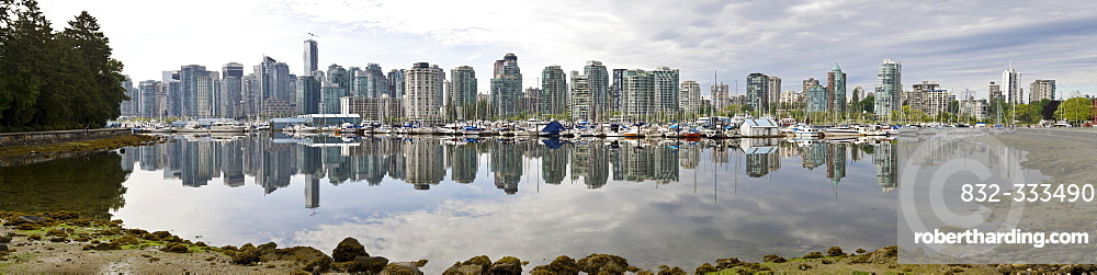 High rise buildings of Coral Harbour with Shaw Tower, Harbour Green, Callisto, Escala, and Westin Bayshore Hotel, Vancouver, British Columbia, Canada, North America