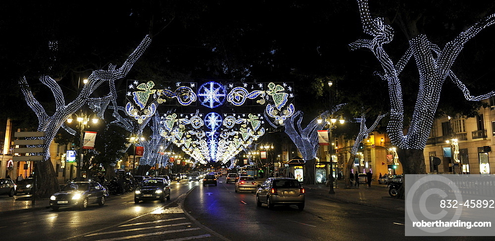 Christmas lights in Malaga, Spain, Europe