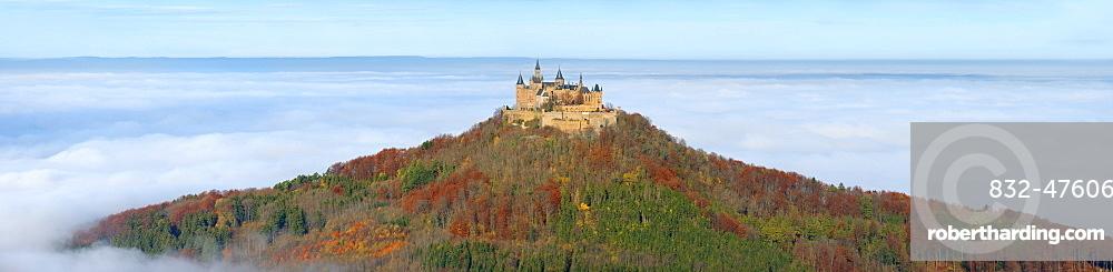 Hohenzollern Castle in autumn, Zollernalb, Swabian Alps, Baden-Wuerttemberg, Germany, Europe