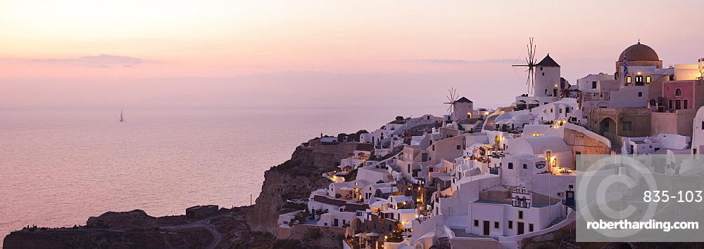 Dusk views of Oia in Santorini, Cyclades, Greek Islands, Greece, Europe
