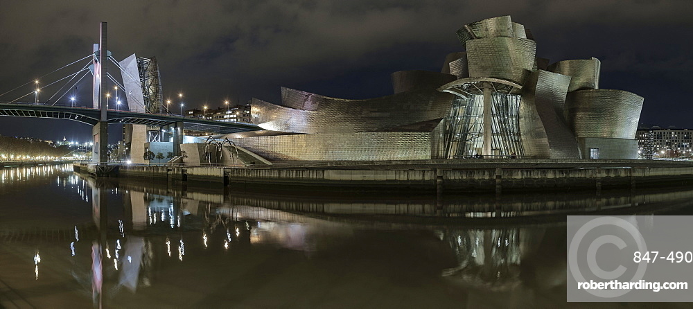 The Guggenheim at night from the other side of the river, Bilbao, Biscay, Basque Country, Spain, Europe