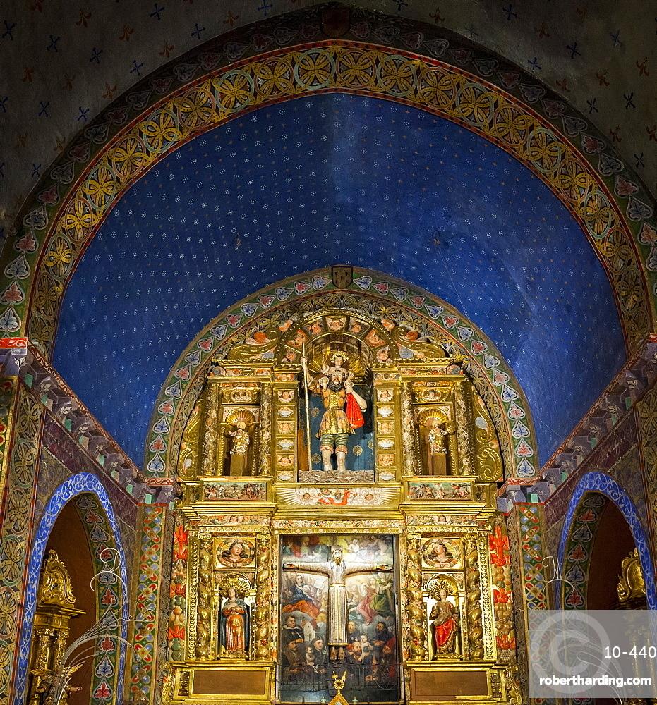 Interior of Parish church of Sant Cristofor, Beget, Catalonia, Spain, Europe