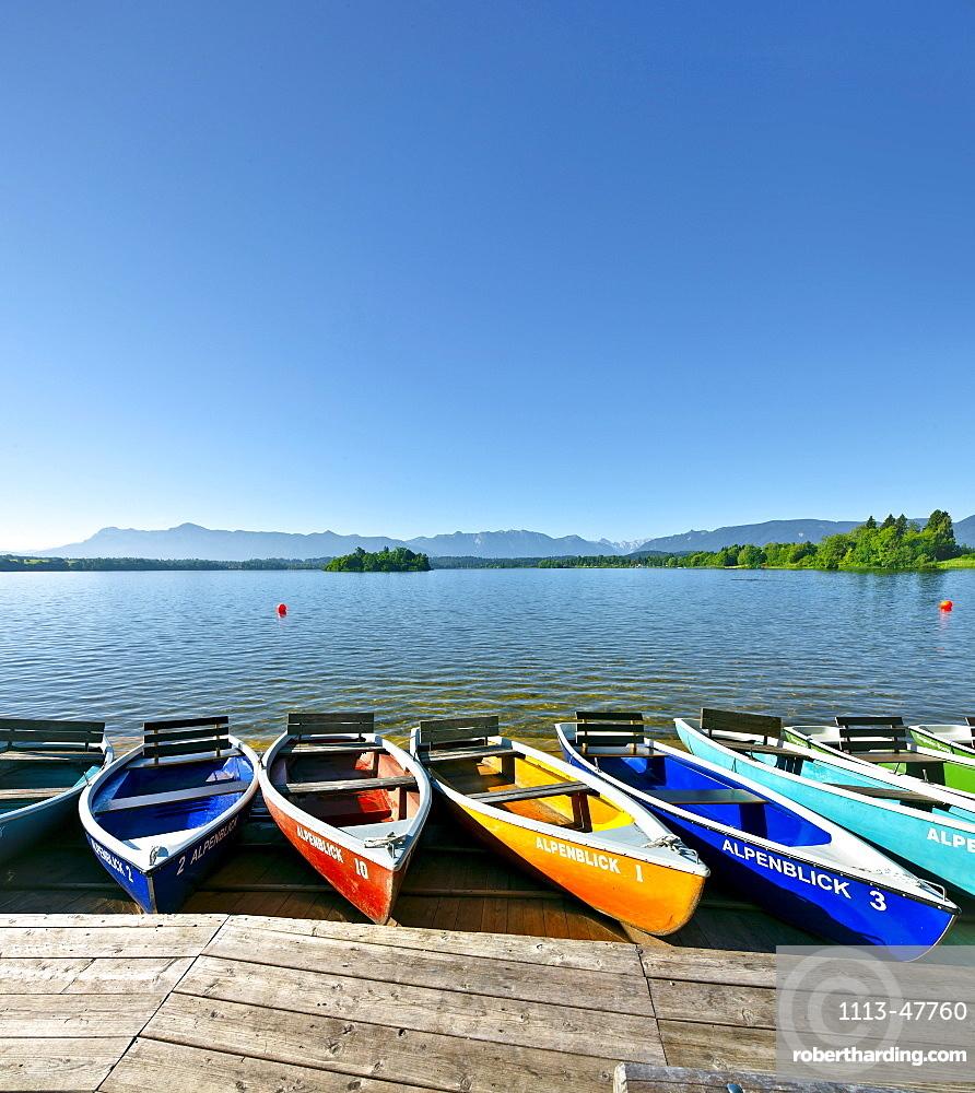 Rowboats at lake Staffelsee, Uffing, Upper Bavaria, Germany