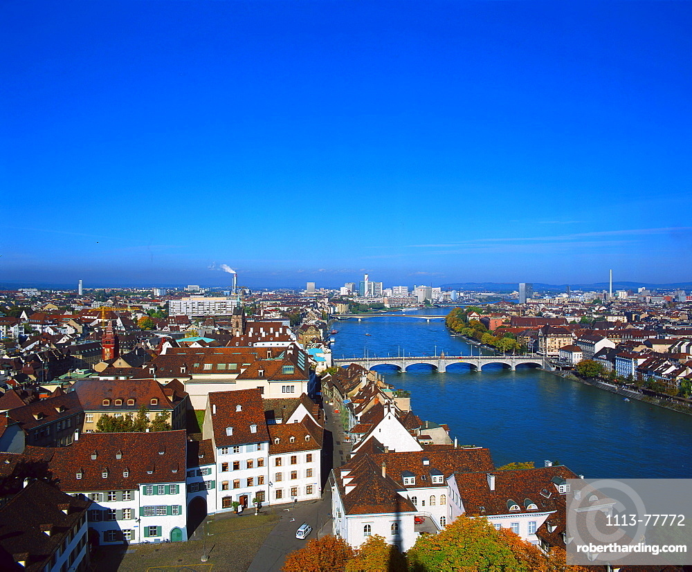 Outlook on Muenster and Rhine, Basel, Switzerland