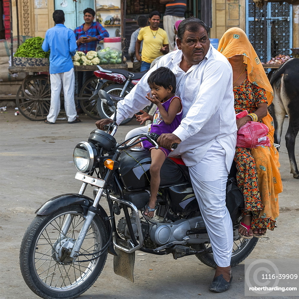 Family riding a motorcycle, Jaisalmer, Rajasthan, India