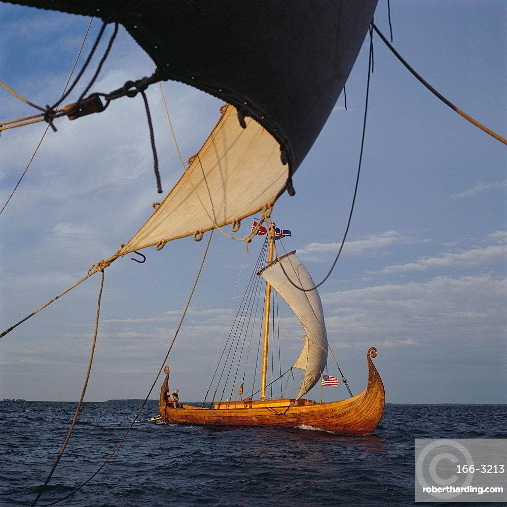View from Gaia of replica Viking ship Oseberg, Chesapeake Bay, United States of America, North America