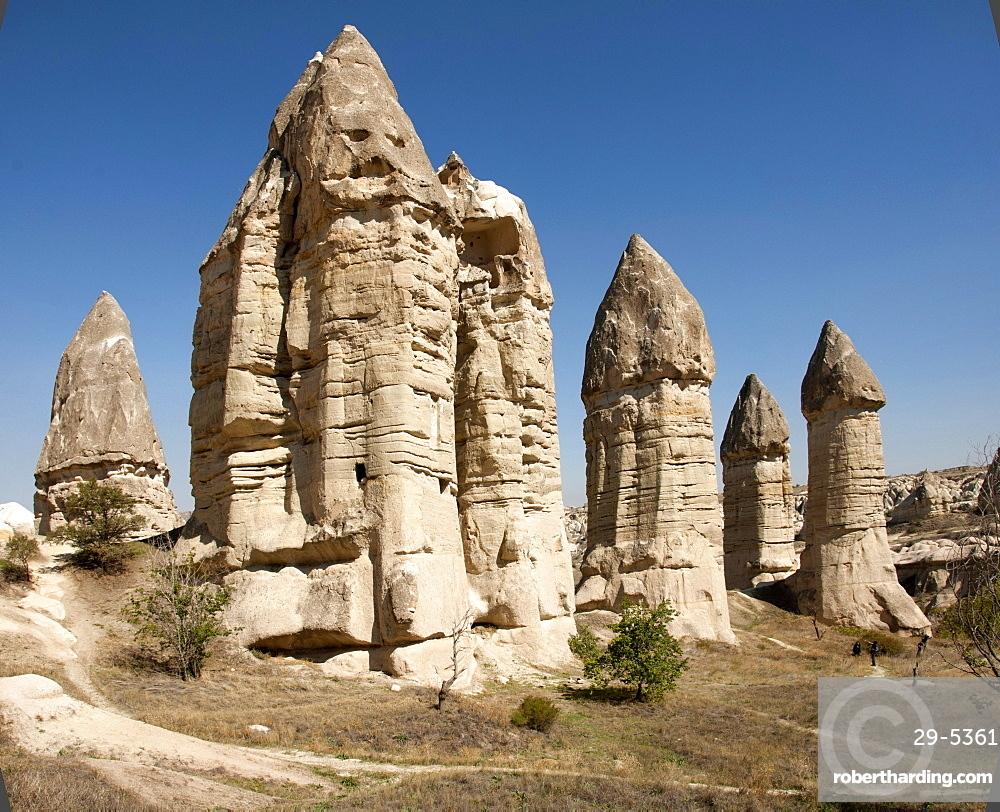 Natural pinnacles in volcanic ash, Zemi Valley, Goreme, UNESCO World Heritage Site, Cappadocia, Anatolia, Turkey, Asia Minor, Eurasia