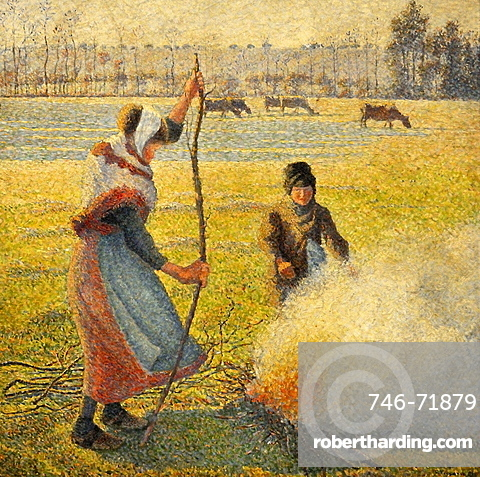 Peasant Girl Lighting a Fire painted by Camille Pissarro, Musee d'Orsay, Paris, Ile-de-France, France, Europe