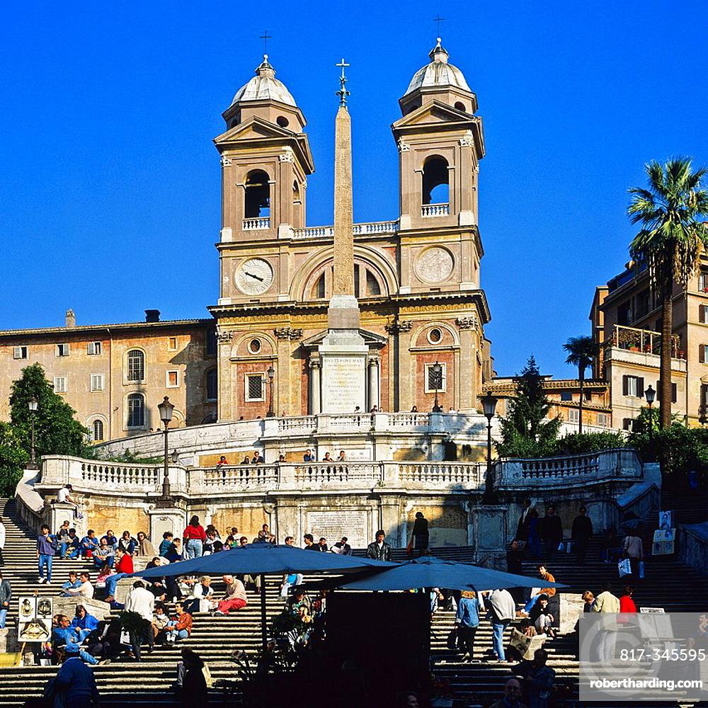 Spanish steps and Santissima Trinita dei Monti church, Rome, Italy