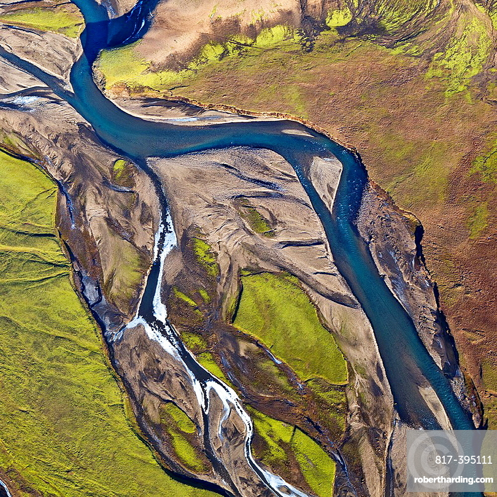 Aerial of riverbeds with moss and mountains, Emstrur Area  Iceland  Region near Katla, a subglacial volcano under Myrdalsjokull Ice Cap