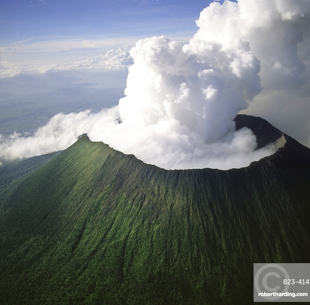 Aerial view of Mount Nyiragongo, an active volcano in the Virunga Mountains in Virunga National Park, near the border with Rwanda, known for its recent devastating eruptions, Democratic Republic of the Congo, Great Rift Valley, Africa