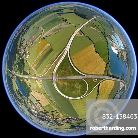 Aerial view, fisheye, spherical panorama, motorway junction A38, exit 28, Brandis, Saxony, Germany, Europe