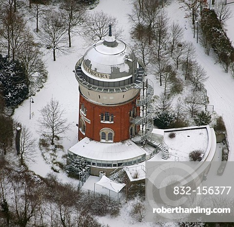 Aerial view, former water tower, historical monument, camera obscura, Muelheim an der Ruhr, Ruhrgebiet region, North Rhine-Westphalia, Germany, Europe