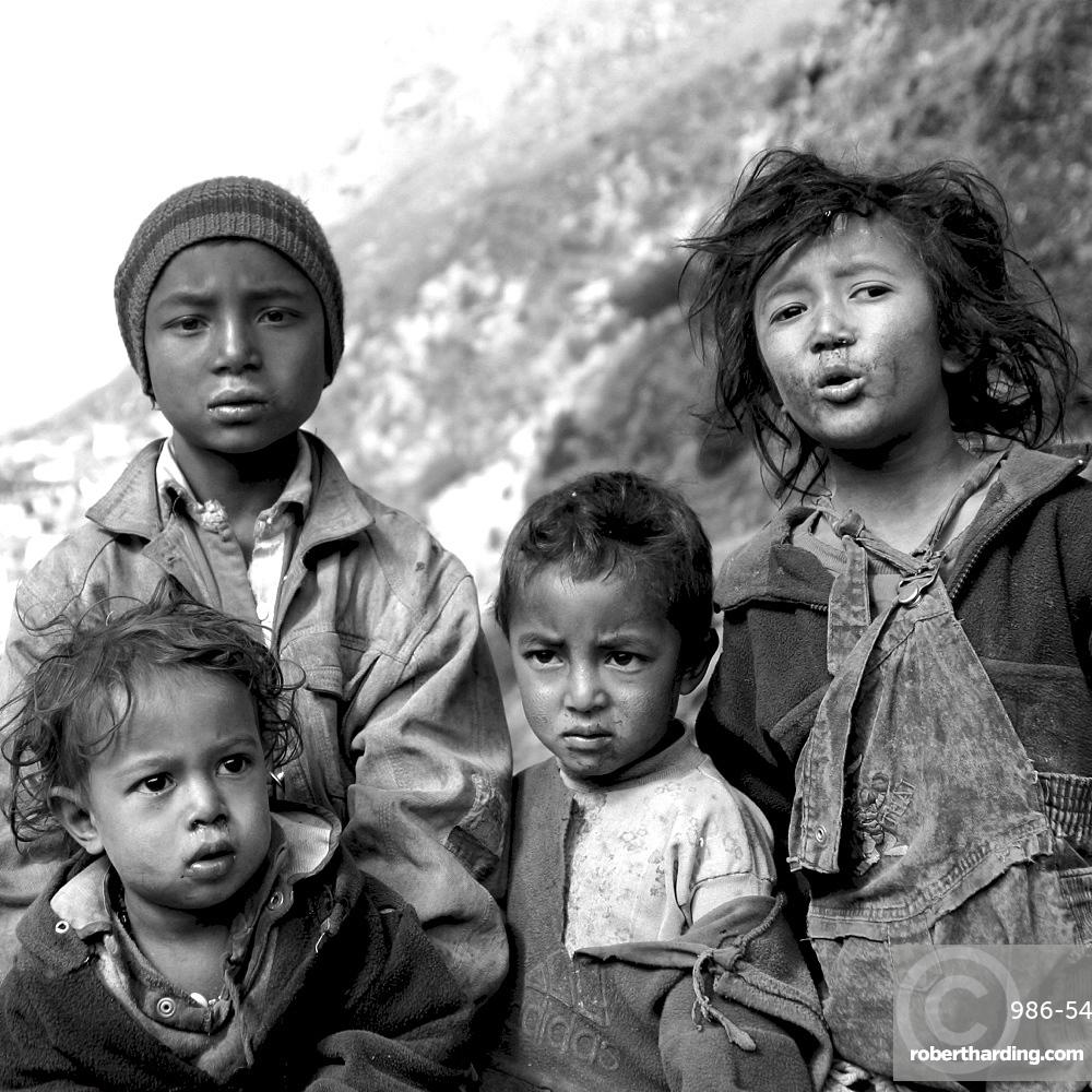 Children of the kumbu. Group of 4 Children, Black & White, Everest Region, Nepal.
