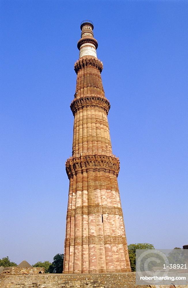 The Qutb Minar, built c 1200 AD, Old Delhi, India