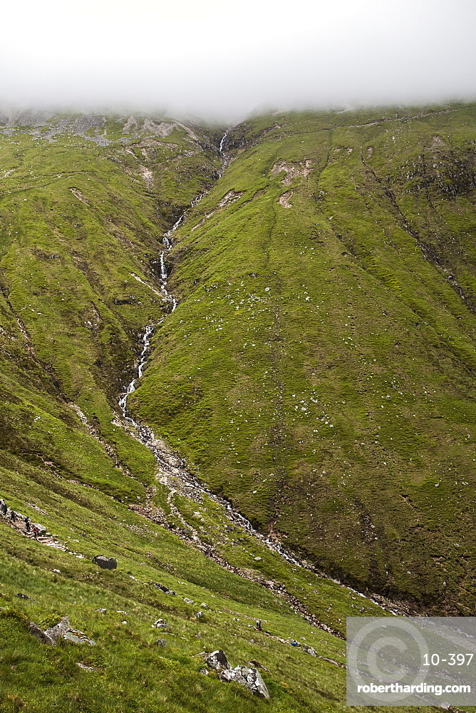 A small stream along the Mountain Track (Tourist Route), Ben Nevis, Highlands, Scotland, United Kingdom, Europe