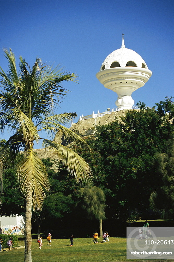 Incense burner lookout tower, built to celebrate Oman's 20th National Day, Riyam Park, Muscat, Oman, Middle East