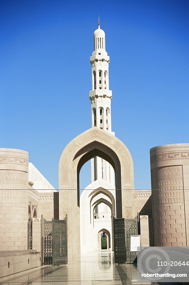 Forecourt and main minaret, Sultan Qaboos Mosque, built in 2001, Ghubrah, Muscat, Oman, Middle East