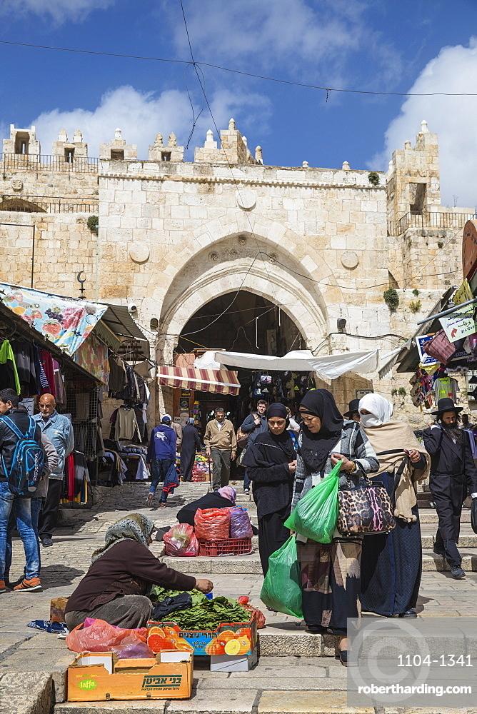 Damascus Gate, Muslim Quarter, Old City, UNESCO World Heritage Site, Jerusalem, Israel, Middle East