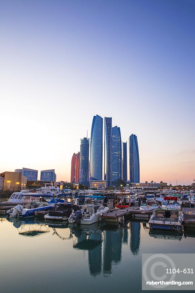 View of Etihad Towers, Abu Dhabi, United Arab Emirates, Middle East