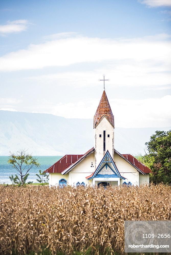 Church at Lake Toba (Danau Toba), North Sumatra, Indonesia, Southeast Asia, Asia