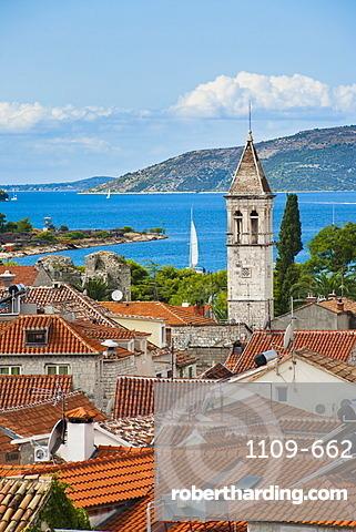 Spire of St. Michael Monastery and Church Belfry, Trogir, UNESCO World Heritage Site, Dalmatian Coast, Adriatic, Croatia, Europe