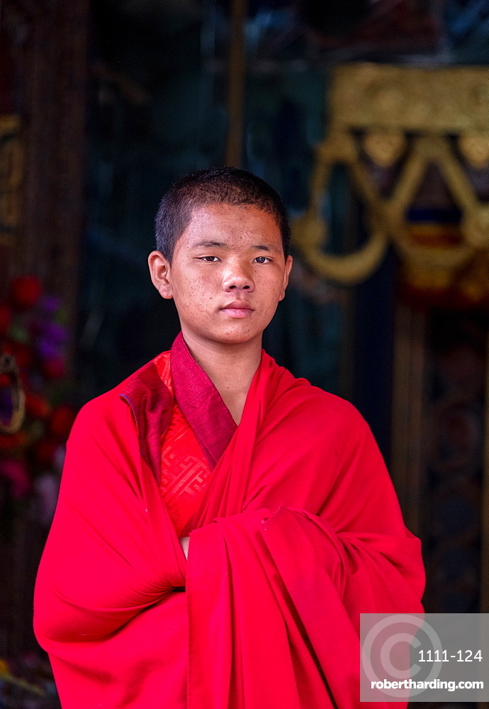 Portrait of a young Buddhist monk, Punakha Dzong, Bhutan, Asia