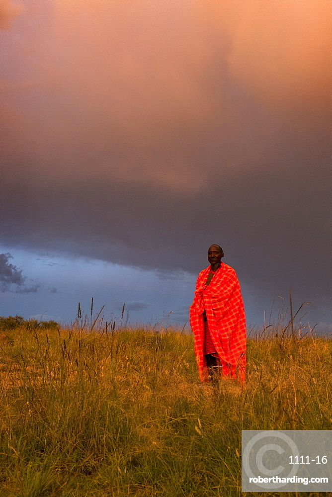 A Masai Mara man wearing traditional tribal red blanket, Masai Mara National Park, Kenya, East Africa, Africa