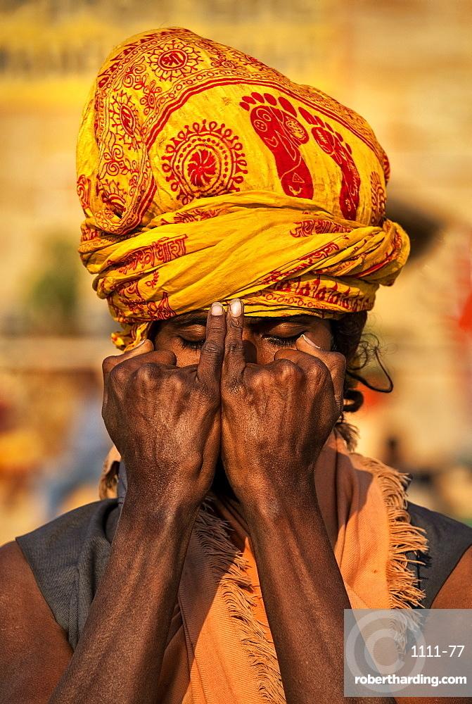 Sadhu practicing murdras in Varanasi, India, Asia