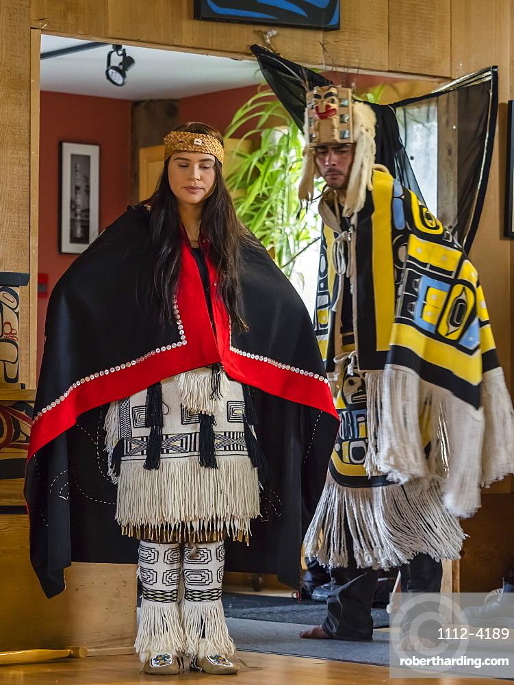 Native dancers in traditional Haida dancing regalia, Old Masset, Haida Gwaii, British Columbia, Canada, North America